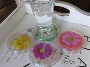 Hampton Direct Set of 4 Decorative Flower Coasters, Clear, Assorted Colors