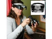 Evelots LED Magnifier Visor 3 Lenses Magnifying Jewelry Repair 1.5X 3X 6.5X 8X