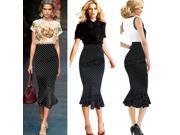 Black Womens Ladies Polka Dot High Waisted Bodycon Pencil Tube Skirt