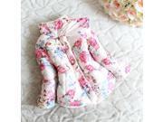 Pink Kids Girls Floral Winter Warm Down Jacket Snowsuit