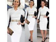White Women Belted V Neck Long Sleeve Cocktail Pencil Dress