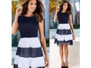 Women Navy Blue Ruched Chiffon Colorblock Casual Dress