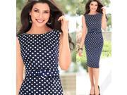 Women Navy Blue Polka Dots Soft Sheer Dress