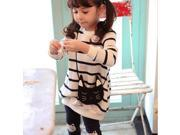 Long Sleeve Cat Bag Stripe Kids Girls Top T-shirt Legging Pants Outfit Set