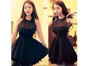 Ruffle Chiffon Halter Mini Dress
