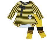 Kids Girls Zipper Back Striped Cotton Long Sleeve Top Tee Legging Pants Outfit