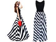Black Sexy Women Sleeveless Striped Party Cocktail Evening Long Maxi Dress