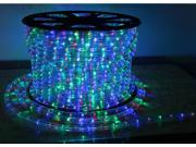 JCL 66'ft Spool 2 Wire Round LED Rope Light RGB Multi-color Changing Red Green Blue Yellow Home Christmas Lighting 3/8 Inch Diameter with Controller 110v