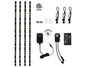 Multicolor RGB LED Home Theater Accent Lighting Kit: 4pcs Color-changing Flexible LED Light Strip w/ UL-certified Power Adapter, RGB Controller, IR Remote, Connectors and Accessories
