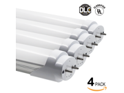 Pack of 4 18W 4ft UL & DLC Listed T8 LED Tube Lights (100V-277V AC) - 5000K Daylight 1800LM LED T8 Tubes for Fluorescent Tube Replacement