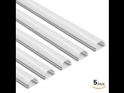 5 PACK 3.3ft/1m Aluminum U-Shape Channel for LED Strip Lights w/ Arc-Shape White Cover - Emulational Neon Effect U05
