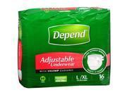 Depend Adjustable Underwear Maximum Absorbency L/XL - 3 Packs of 16 ct