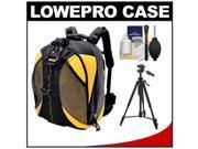 Lowepro DryZone 200 Waterproof Digital SLR Camera Backpack Case (Black/Yellow) with Deluxe Photo/Video Tripod + Accessory Kit