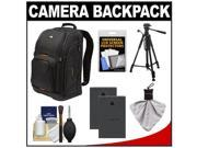 Case Logic Digital SLR Camera Backpack Case (Black) (SLRC-206) with (2) BLS-1 Batteries + Tripod + Accessory Kit