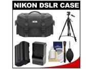 Nikon 5874 Digital SLR Camera Case - Gadget Bag with EN-EL15 Battery + Charger + Tripod + Cleaning Kit