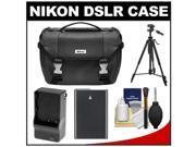 Nikon Deluxe Digital SLR Camera Case - Gadget Bag with EN-EL14 Battery + Charger + Tripod + Cleaning Kit