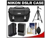 Nikon Deluxe Digital SLR Camera Case - Gadget Bag with EN-EL15 Battery + Charger + Tripod + Cleaning Kit