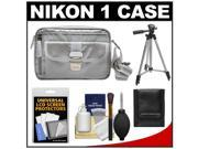 Nikon 1 Series & Coolpix Deluxe Digital Camera Case (Gray) with Tripod + Cleaning & Accessory Kit