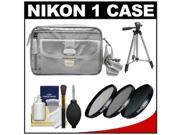 Nikon 1 Series Deluxe Digital Camera Case (Gray) with 3 UV/CPL/ND8 Filters + Tripod + Cleaning Kit