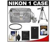 Nikon 1 Series Deluxe Digital Camera Case (Gray) with EN-EL20 Battery + UV Filter + Tripod + Accessory Kit