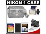 Nikon 1 Series & Coolpix Deluxe Digital Camera Case (Gray) with 32GB Card + EN-EL20 Battery + Tele/Wide Lenses + Accessory Kit