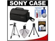 Sony LCS-U20 Medium Carrying Case for Handycam, Cyber-Shot, NEX Digital Camera (Black) with Tripod + Accessory Kit