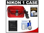 Nikon 1 Series Deluxe Digital Camera Case (Red) with Cleaning & Accessory Kit