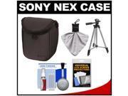 Sony LCS-BBF Soft Digital Camera Case for NEX Digital Cameras (Black) with Tripod + Accessory Kit