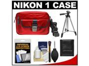 Nikon 1 Series Deluxe Digital Camera Case (Red) with Tripod + Cleaning & Accessory Kit