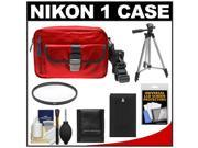 Nikon 1 Series Deluxe Digital Camera Case (Red) with EN-EL20 Battery + UV Filter + Tripod + Accessory Kit