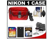 Nikon 1 Series Deluxe Digital Camera Case (Red) with 32GB Card + EN-EL20 Battery + Tele/Wide Lenses + Accessory Kit