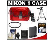 Nikon 1 Series Deluxe Digital Camera Case (Red) with EN-EL21 Battery + UV Filter + Tripod + Accessory Kit