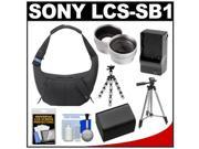 Sony LCS-SB1 Sling Case for Handycam, Cyber-Shot, NEX Digital Camera (Black) with Battery & Charger + 2 Tripods + Telephoto & Wide-Angle Lenses + Accessory Kit
