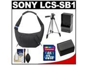 Sony LCS-SB1 Sling Case for Handycam, Cyber-Shot, NEX Digital Camera (Black) with 32GB Card + Battery & Charger + Tripod + Accessory Kit