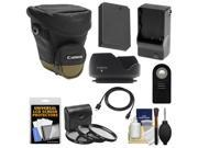 Canon Zoom Pack 1000 Digital SLR Camera Holster Case with LP-E12 Battery & Charger + 3 Filters + HDMI Cable + Remote + Hood + Accessory Kit