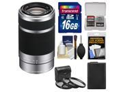 Sony Alpha E-Mount 55-210mm f/4.5-6.3 OSS Zoom Lens (Silver) with 16GB Card + NP-FW50 Battery + 3 UV/FLD/PL Filters + Accessory Kit