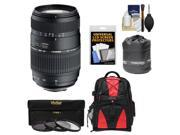 Tamron 70-300mm f/4-5.6 Di LD Macro 1:2 Zoom Lens (for Canon EOS Cameras) with 3 UV/CPL/ND8 Filters + Backpack + Pouch + Accessory Kit