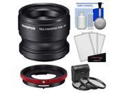 Olympus TCON-T01 Tele Converter Lens & CLA-T01 Adapter Ring Pack for Tough TG-2, TG-3 iHS & TG-4 Camera with 3 UV/CPL/ND8 Filters + Kit