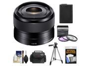 Sony Alpha E-Mount 35mm f/1.8 OSS Lens with Battery + Case + 3 (UV/FLD/CPL) Filters + Tripod + Accessory Kit