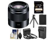 Sony Alpha E-Mount 50mm f/1.8 OSS Telephoto Lens (Black) with 32GB Card + NP-FW50 Battery & Charger + Flex Tripod + Filter Set + Cleaning Kit