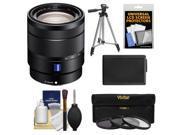 Sony Alpha E-Mount Vario-Tessar T* 16-70mm f/4.0 ZA OSS Zoom Lens with Battery + Tripod + 3 UV/ND8/CPL Filters + Accessory Kit