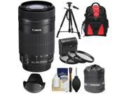 Canon EF-S 55-250mm f/4.0-5.6 IS STM Zoom Lens with 3 UV/CPL/ND8 Filters + Hood + Backpack Case + Tripod + Accessory Kit