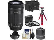 Canon EF-S 55-250mm f/4.0-5.6 IS STM Zoom Lens with 3 UV/CPL/ND8 Filters + Hood + Case + Flex Tripod + Accessory Kit