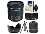 Canon EF-S 10-18mm f/4.5-5.6 IS STM Zoom Lens with Tripod + Hood + 3 UV/CPL/ND8 Filters + Pouch + Kit