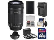 Canon EF-S 55-250mm f/4.0-5.6 IS STM Zoom Lens with 64GB Card + LP-E6 Battery + Charger + 3 UV/CPL/ND8 Filters + Hood + Kit