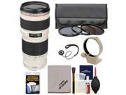 Canon EF 70-200mm f/4 L USM Zoom Lens with 3 Hoya UV/CPL/ND8 Filters + Tripod Ring Collar + Accessory Kit