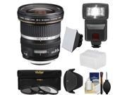 Canon EF-S 10-22mm f/3.5-4.5 USM Ultra Wide Angle Zoom Lens with Flash + 3 Filters + Diffusers + Hood + Kit