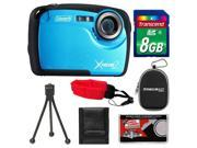 Coleman Xtreme2 C12WP Shock & Waterproof Digital Camera with HD Video (Blue) with 8GB Card + Case + Tripod + Accessory Kit