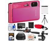Sony Cyber-Shot DSC-TX30 Shock & Waterproof Digital Camera (Pink) with 32GB Card + Helmet & Handlebar Mounts + Battery + Case + Flex Tripod + Accessory Kit