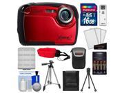 Coleman Xtreme2 C12WP Shock & Waterproof Digital Camera with HD Video (Red) with 16GB Card + Case + Batteries & Charger + 2 Tripods + Accessory Kit